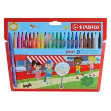 Bút lông tô màu đầu to Stabilo PW280-24 (Hộp 24 cây)