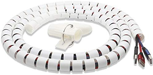 Cable Tube Organizer, TITACUTE Coiled Tube Sleeve Cable Wrap Spiral Wire Sleeves Cable Management with Cord Cover Clips for TV PC Computer Home Entertainment Wall White