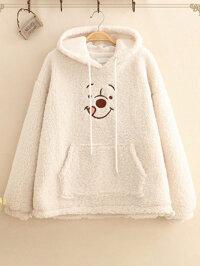 Cartoon Bear Embroidery Hooded Lamb Velvet Sweatshirt coats