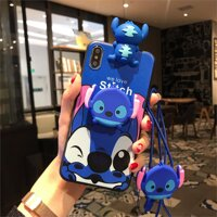 Cho Samsung S7 Edge/S8/S8 Plus/S9/S9 Plus/S10/S10 Plus/S10e/ s10 Lite/Note 10/Note 10 Plus Ốp Lưng Stitch Mềm TPU Bao Da Dây Đeo Dây Điện Thoại