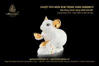 Chuột Phú ngồi 8cm Trắng vàng