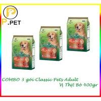 (Combo 3 gói thức ăn cho chó lớn Classic Pets Adult) Thức ăn cho Chó Lớn Classic Pets Adult - Thức ăn hạt khô cho chó lớn - Vị bò nướng - gói 400gr (P.Pet)
