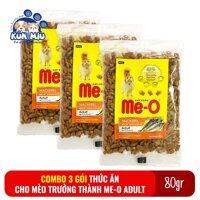 Combo 3 gói Thức ăn cho mèo lớn đã trưởng thành trên 1 tuổi Me-O Adult 80gr