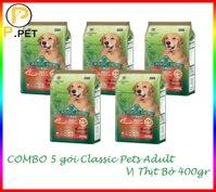 (Combo 5 gói thức ăn cho chó lớn Classic Pets Adult) Thức ăn cho Chó Lớn Classic Pets Adult - Thức ăn hạt khô cho chó lớn - Vị Thịt Bò - gói 400gr (P.Pet)