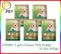 (Combo 5 gói thức ăn cho chó con Classic Pets Pupyy) Thức ăn cho Chó con Classic Pets Puppy - Thức ăn hạt khô cho chó con - Vị sữa - gói 400gr (P.Pet)