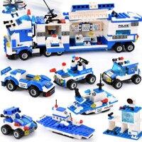Công An Thành Phố Khối Tương Thích Legoinglys Thành Phố Chặn Xe Ô Tô Trực Thăng Khối Xây Dựng Playmobil Tự Làm Gạch Đồ Chơi Dành Cho Trẻ Em