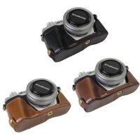 Da PU Nửa Lưng Cầm cho Olympus OM-D OMD E-M10 Mark III EM10III EM10 M3 Camera