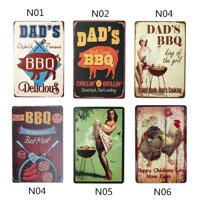 Dads BBQ Retro Tấm Trang Trí Tường Cho Quán Rượu Quán Rượu Nhà Bếp Khu Vực Tiệc Cổ Điển Bảng Hiệu Kim Loại Tấm Áp Phích Trang Trí Nội Thất 20*30 Cm