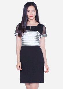 Đầm ôm tay ngắn phối kẻ The One Fashion DDC1623DE1