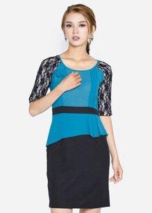 Đầm ôm tay ngắn phối ren The One Fashion DDC0313XDEM