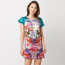 Đầm suông in hoa tay phối màu Cirino