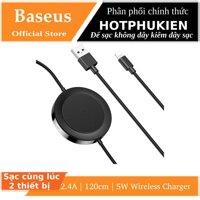 Đế sạc không dây kiêm dây sạc Baseus sạc cùng lúc 2 thiết bị (2.4A 1.2m5W Wireless Charger)(bảo hành 03 tháng 1 đối) - Phân phối bởi Hotphukien [bonus]