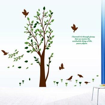 Decal trang trí dán tường cây xanh lá