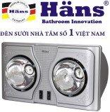 Đèn sưởi nhà tắm 2 bóng Hans H2B (Bạc)