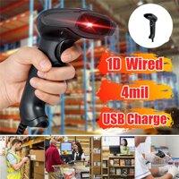 Di động 1D Máy Quét Mã Vạch Tự Động Mã Vạch Cầm Tay Đầu Đọc USB Laser Có Dây Quét POS 300 lần/giây Cho Siêu Thị