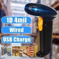 Di Động 1D Máy Quét Mã Vạch Tự Động Mã Vạch Cầm Tay Sạc USB Đầu Đọc Laser Có Dây Quét POS DC5V Đen Dành Cho Siêu Thị