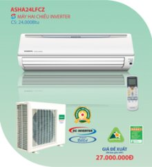 Điều hòa General 24000 BTU 2 chiều Inverter ASHA24LFC/A0HR24LFC (AOHR24LFC) gas R-410A