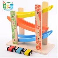 Đồ chơi cầu trượt cho bé bằng gỗ có 3 ô tô kèm theo