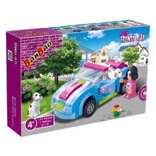 Bộ đồ chơi lắp ráp BanBao - Xe chở thú cưng 6119