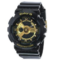 Dong ho Casio Women's BA-110-1ACR Baby-G Goldtone Analog-Digital Display and Black Resin Strap Watch