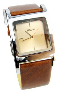Đồng hồ nam dây da Sinobi S9155G (Nâu Trắng)