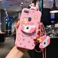 Evokioo For OPPO A3 A3S A5 A5S A7 Kawaii Unicorn With Lanyard Bracket Phone Case