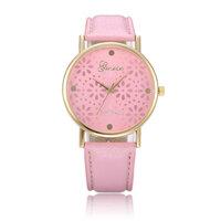 Fashion Women Chrysanthemum Design Round Dial Leather Quartz Watch
