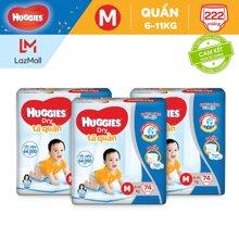 Bộ 3 Tã dán Huggies Dry M74 (5-10kg) - 74 miếng