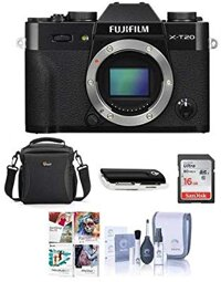 Fujifilm X-T20 24.3MP Mirrorless Digital Camera UHD 4K Video, Panorama, Black - Bundle with Camera Case, 16GB SDHC Card, Cleaning Kit, Card Reader, Software Package