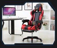Ghế văn phòng ghế chơi games ngả lưng kê chân thư giãn ngủ trưa tiện dụng phong cách (đen đỏ)