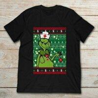 Grinch Y Tá Cầm Vật Trang Trí Đăng Ký Đen Áo. Tốt Nhất Quà Tặng Giáng Sinh.