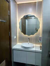 Gương đèn Led phòng tắm tròn lượn sóng