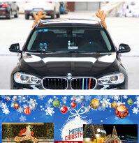 Hộ Gia Đình Series Giáng Sinh Trang Trí Xe Hơi Sang Trọng Rudolf Xe Tuần Lộc Nhung Mũi Đỏ Jingle Bells