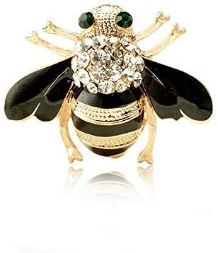 HuntGold 1 PC New Fashion Women Delicate Little bee Crystal & Rhinestone Pin Brooch Black
