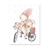 Jekeh Woodland Bunny In Hoa Boho Nghệ Thuật Tường Nhà Trẻ Thỏ Tranh Vải Bố Áp Phích Dễ Thương Động Vật Hoạt Hình Trẻ Em Cô Gái Nội Thất Trang Trí Phòng Ngủ