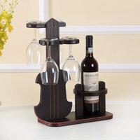 Kệ rượu gỗ và giá để ly rượu vang 014