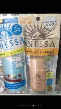 KEM CHỐNG NẮNG SHISEIDO ANESSA Nhật bản dạng sữa Milk màu bạc và vàng