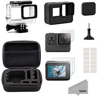 Kupton Accessories Compatible with GoPro Hero 7/6/ 5/ Hero (2018) Starter Kit Travel Case + Housing Case + Screen Protector + Lens Cover + Silicone Cover for Go Pro Hero7 Hero6 Hero5