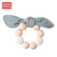 Mamihome Yếm Ăn Bé Ợ Vải Dây Vòng Gỗ Beech Miếng Dán Cotton Dãi Yếm Sơ Sinh Thấm Hút Vải Trẻ Em Hàng Đồ Chơi