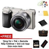 Máy ảnh Sony Alpha A6000 kèm Kit 16-50mm - Màu Bạc - Tặng thẻ nhớ + Túi + Dán màn hình + Remote + Gói cài app + Nắp hotshoe - Hàng phân phối chính hãng