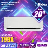 Máy Lạnh Inverter 9500 BTU Midea MSAB-10CRDN8 (1HP Điều Hoà 1 Chiều Tiết Kiệm Điện Có Tính Năng Làm Lạnh Nhanh Lọc Bụi HD) - Hàng Phân Phối Chính Hãng Bảo Hành Tại Nhà 3 năm Toàn Quốc [bonus]
