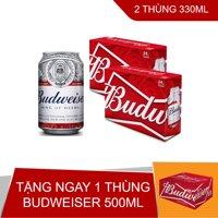 Mua 2 thùng bia Budweiser 330ml tặng ngay thùng 12 lon Budweiser 500ml