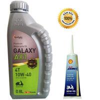 Nhớt xe máy tay ga Galaxy AX1 cao cấp Hàn Quốc - 800ml - Tặng dầu láp Shell Advanced