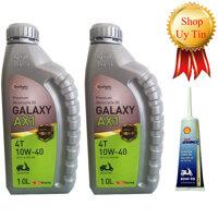Nhớt xe máy tay ga Galaxy AX1 Hàn Quốc cao cấp - Combo 2 chai - 1000ml - Tặng dầu láp Shell Advanced