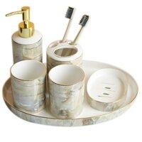 Nội thất phòng tắm - Bộ bình cốc kệ đựng kem đánh răng xà bông phòng tắm bằng gốm sứ tráng men cao cấp