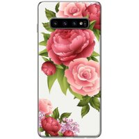 Ốp lưng  dành cho Samsung Galaxy S10 Plus mẫu Hoa hồng đỏ nền trắng