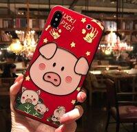 Ốp lưng điện thoại iPhone 6 Plus 6s Plus hình con lợn chú heo màu đỏ Thần Tài Tết xuân Kỷ Hợi may mắn dễ thương thời trang dẻo vân sần 3D Case IP