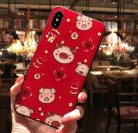 Ốp lưng điện thoại iPhone X hình con lợn chú heo màu đỏ Thần Tài Tết xuân Kỷ Hợi may mắn dễ thương thời trang dẻo vân sần 3D Case IP