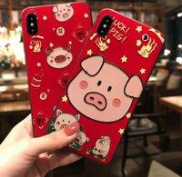 Ốp lưng điện thoại iPhone XR hình con lợn chú heo màu đỏ Thần Tài Tết xuân Kỷ Hợi may mắn dễ thương thời trang dẻo vân sần 3D Case IP