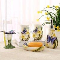Phong Cách Châu Âu Gốm Phòng Tắm Tắm Giặt Bộ 5 Đồ Con Bướm Hollow Orchid Phòng Tắm Cao Cấp Kết Hôn Quà Tặng Mới Nhà Trang Trí Nội Thất